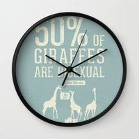 toddler Wall Clocks featuring Animal Facts: Giraffe by Daniel Ebbrell
