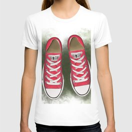 red converse//for young soul//red sneakers on the grass//digital print//for youth//baseball T-shirt