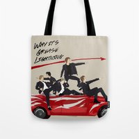 "grease Tote Bags featuring ""Why it's grease lightning"" by Karu Kara"