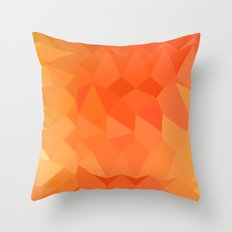 Spanish Orange Abstract Low Polygon Background Throw Pillow
