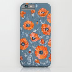 Red poppies in grey iPhone 6s Slim Case