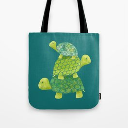 Turtle Stack Family in Teal and Lime Green Tote Bag