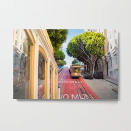 Two Iconic MUNI Cable Cars in San Francisco, California Metal Print