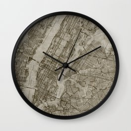 Warm Putty Beige Decor, Manhattan New York City, Antique Vintage Map Wall Clock