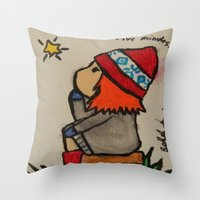 amy pond Throw Pillows featuring Young Amy Pond by Beth Anderson