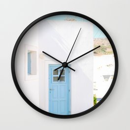 Colorful Blue Door and White Building in Oia Santorini Island Greece Wall Clock