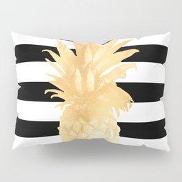 Gold Pineapple Black and White Stripes Pillow Sham