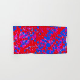 blue on red, circles Hand & Bath Towel