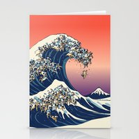 pug Stationery Cards featuring The Great Wave of Pug   by Huebucket