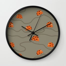 Orange ladybug rush - Fabric pattern Wall Clock