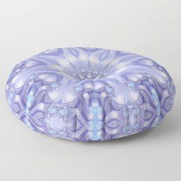 Light Blue, Lavender & White Floral Mandala Floor Pillow