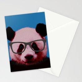 Geek Nerd Panda in Blue Background Stationery Cards