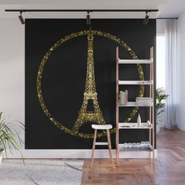 Paris Eiffel Tower gold sparkles peace symbol Wall Mural