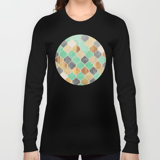 Charcoal, Mint, Wood & Gold Moroccan Pattern Long Sleeve T-shirt
