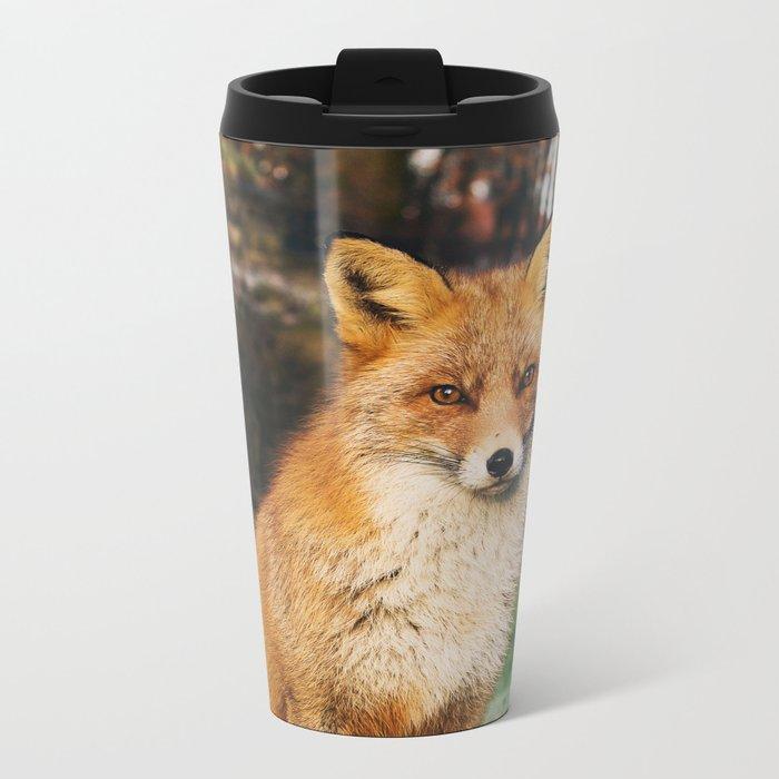 Red Scandinavian Fox Metal Travel Mug