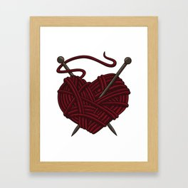 I Love Knitting | Wool Needle Heart Sewing Craft Framed Art Print