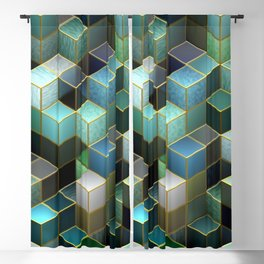 Cubes in Blue Blackout Curtain