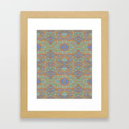 Orange and blue abstract pattern in eastern style Framed Art Print