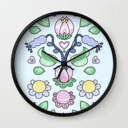 Cartoon Kurbits - Flower Tapestry Wall Clock