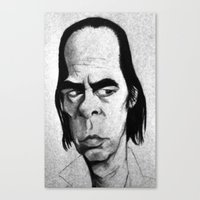 nick cave Canvas Prints featuring Nick Cave by Mr Shins