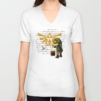 banksy V-neck T-shirts featuring Link Banksy by le.duc