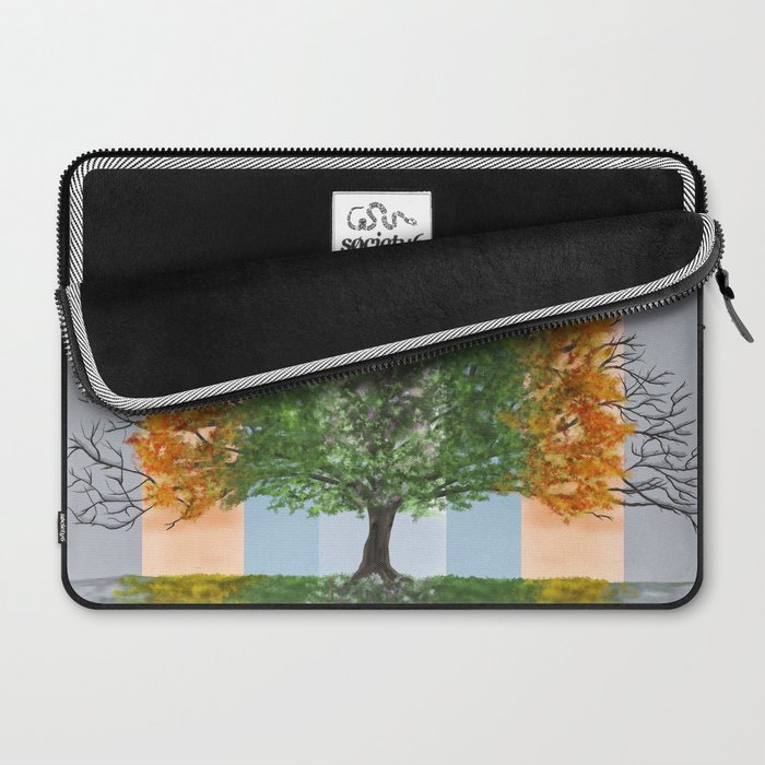 Digital painting of the seasons of the year in a tree Laptop Sleeve
