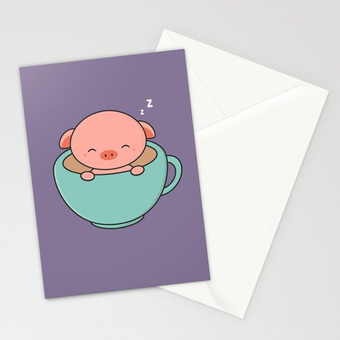 Cute Kawaii Teacup Pig Stationery Cards by wordsberry   Society6