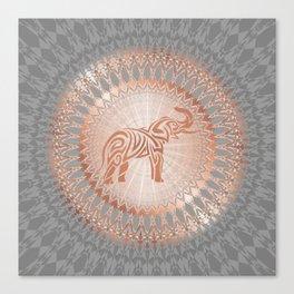 Rose Gold Gray Elephant Mandala Canvas Print
