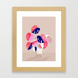 Monstera Deliciosa Plant in blue and pink Framed Art Print
