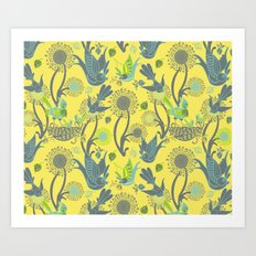 Birds and Acorns Art Print