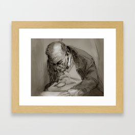 Man with Magnifying Glass Framed Art Print