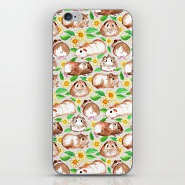 Guinea Pigs and Daisies in Watercolor iPhone Skin