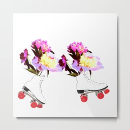 Peony Flowers on Roller skates Metal Print