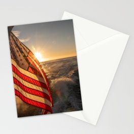 American Flag at Sea, United States Stationery Cards
