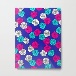 Pop Roses Pattern Metal Print