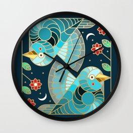Beautiful Art Deco Midnight Bluebirds And Blossoms Wall Clock
