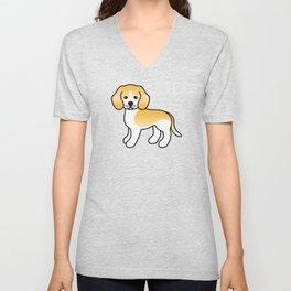 Cute Lemon And White Beagle Dog Cartoon Illustration Unisex V-Neck