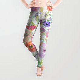 Pretty watercolor hand paint abstract floral Leggings