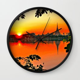 Sunset Leaves. Wall Clock