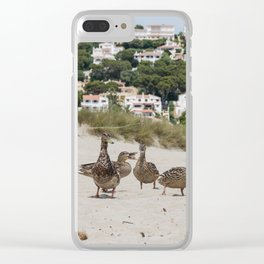Ducks in one of the biggest and tourist beaches of Menorca, Son bou. Clear iPhone Case