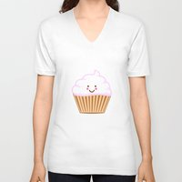 cupcake V-neck T-shirts featuring CUPCAKE by AnishaCreations