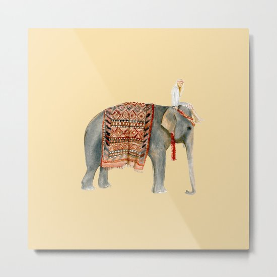 Elephant Ride on Sand Metal Print