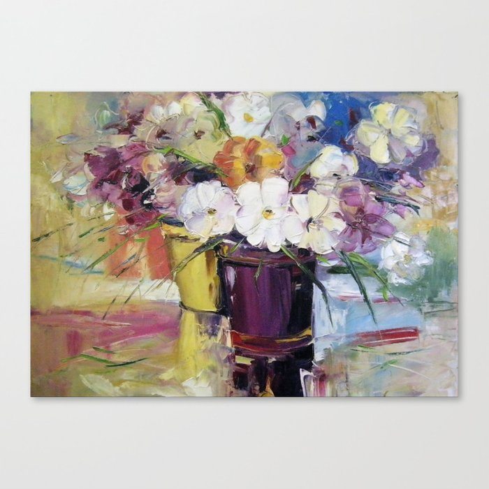 Flowers in a pot Canvas Print