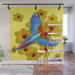 TROPICAL BLUE MACAW YELLOW HIBISCUS ART Wall Mural