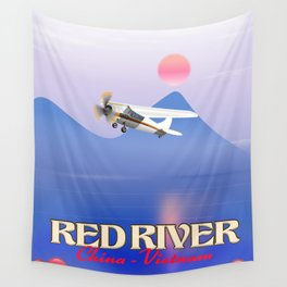 Red River China Vietnam travel poster. Wall Tapestry