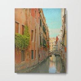 Vintage Inspired Venetian Canal Metal Print