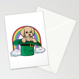 Time For Some Shenanigans, Cute Poodle Rainbow Leprechaun Hat Stationery Cards