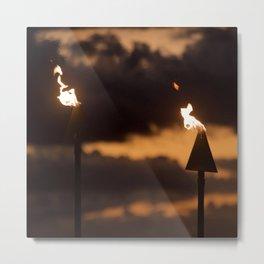 Tiki Torches Aflame After Dark Metal Print