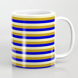 Pale Goldenrod, Dark Goldenrod, and Blue Colored Striped/Lined Pattern Coffee Mug