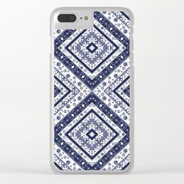 Strict , white blue ornament. Clear iPhone Case